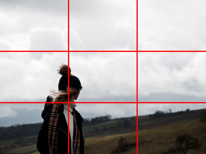 An image of a woman through the countryside using the rule of thirds composition grid